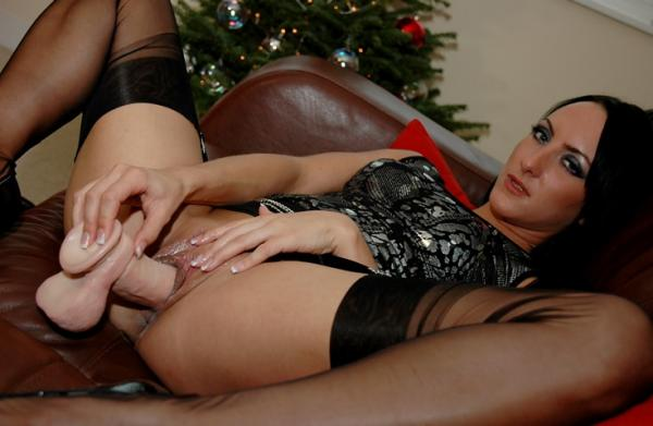 Chloe - Huge Dildo and Stockings