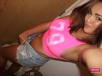 selfshot083 Cute Pink Top And Denim Shorts