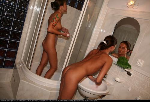 Body-Painted Girl Shower