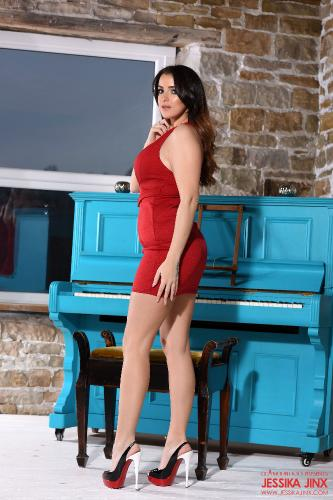 Jessika Jinx In Her Tight Red Dress Stripping On The Piano