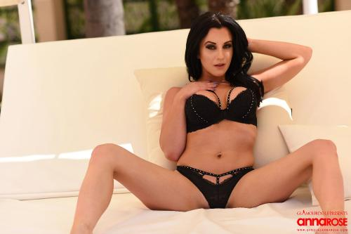 Anna Rose Strips From Her Black Lingerie On The Lounge Bed