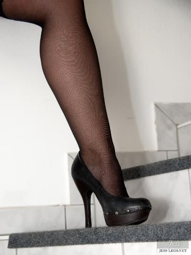 Black stockings on the stairs