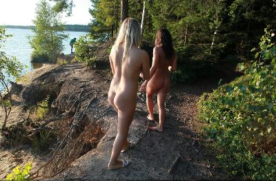 Amateur nymphs naked in the forest