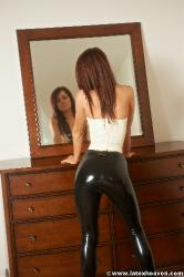 White Waitress Top and Black Leggings - Lana