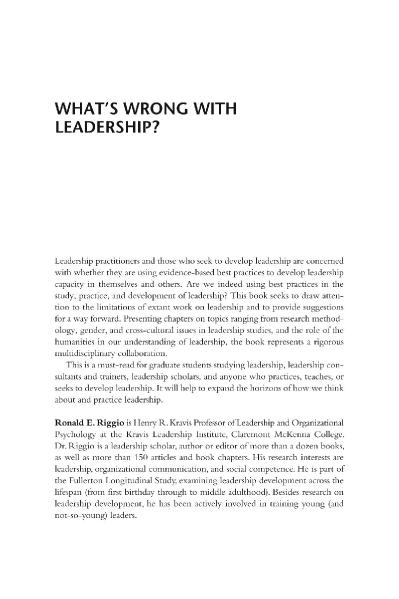 What's Wrong With Leadership Improving Leadership Research and Practice